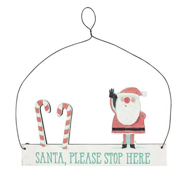Schild Santa stop here