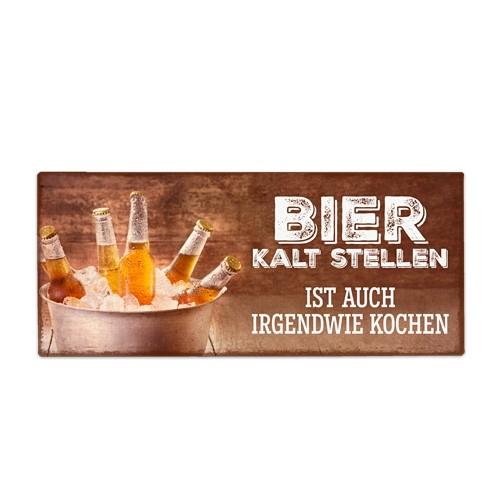 Metallschild Bier kalt stellen