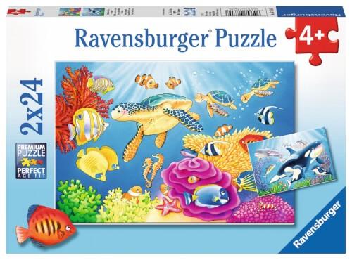 Ravensburger 07815 Puzzle: Kunterbunte Unterwasserwelt 2x24 Teile
