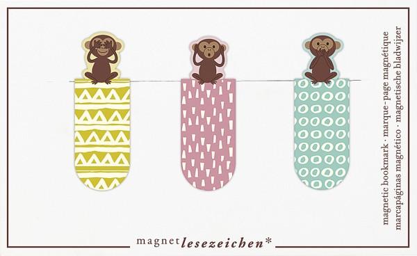 Magnetlesezeichen Drei Affen