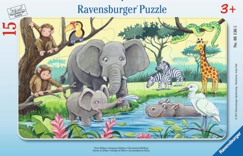 Ravensburger 06136 Rahmenpuzzle Tiere Afrikas 15 Teile