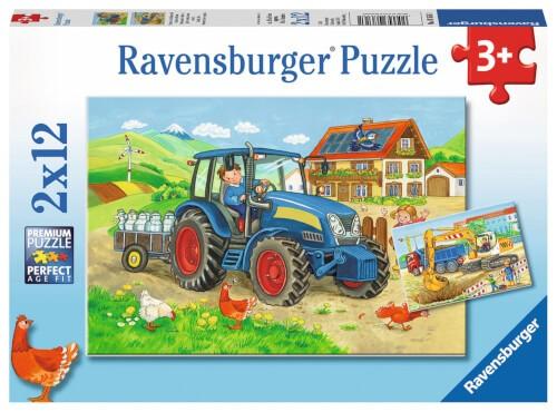 Ravensburger 07616 Puzzle: Baustelle und Bauernhof 12 Teile