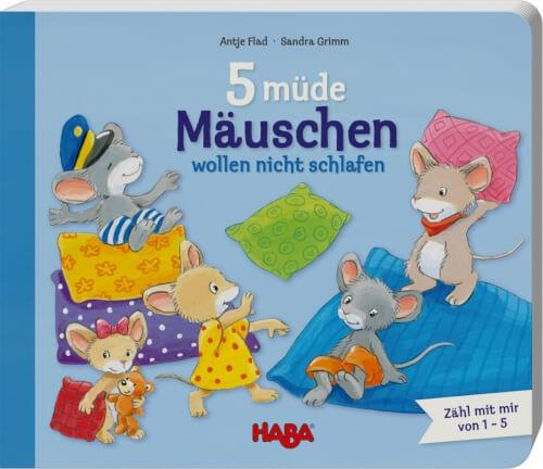HABA - 5 müde Mäuschen wollen nicht schlafen, Pappebuch, ab 2 Jahren