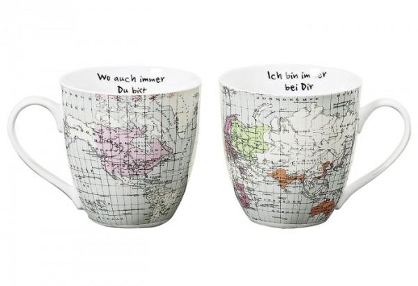 Kaffeebecher Weltreise Jumbo Porzellan sortiert 600 ml 11cm Ø11cm weiß