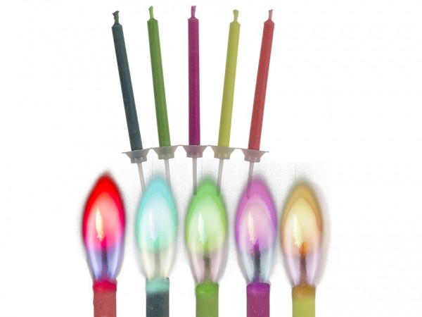 Geburtstagskerzen mit bunter Flamme 5er