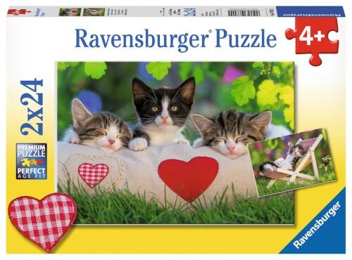 Ravensburger 07801 Puzzle: Verschlafene Kätzchen 2x24 Teile