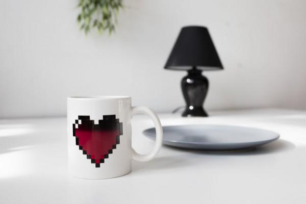 Kaffeebecher Pixel Herz