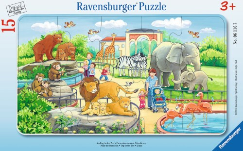 Ravensburger 06116 Rahmenpuzzle Ausflug in den Zoo 15 Teile