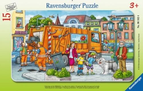 Ravensburger 06162 Puzzle: Unterwegs mit der Müllabfuhr, 15 Teile