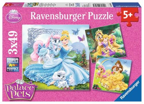Ravensburger 09346 Puzzle Belle, Cinderella und Rapunzel 3 x 49 Teile