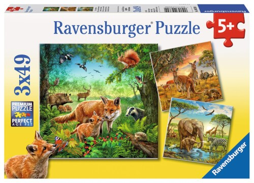Ravensburger 09330 Puzzle Tiere der Erde 3 x 49 Teile